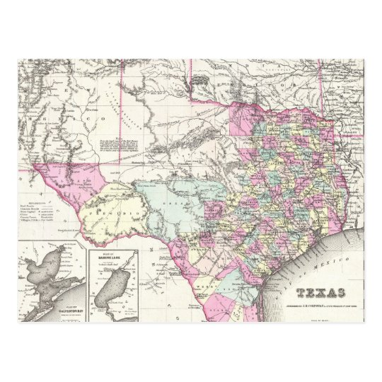 Vintage Map of Texas (1855) Postcard