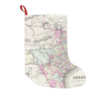 Vintage Map of Texas (1855) Small Christmas Stocking