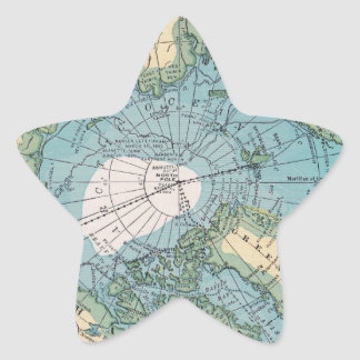 Vintage Map of the Arctic Star Sticker