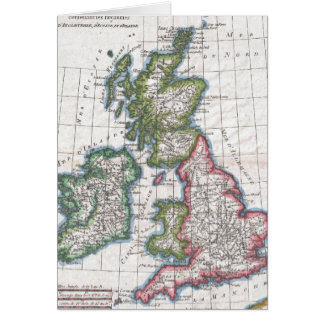 Vintage Map of The British Isles (1780) Greeting Card