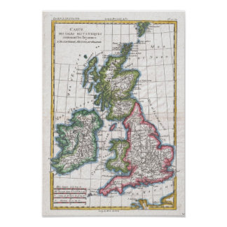 Vintage Map of The British Isles 1780 Poster