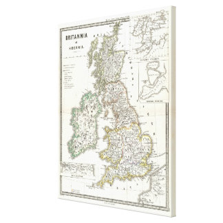 Vintage Map of The British Isles (1865) Canvas Print
