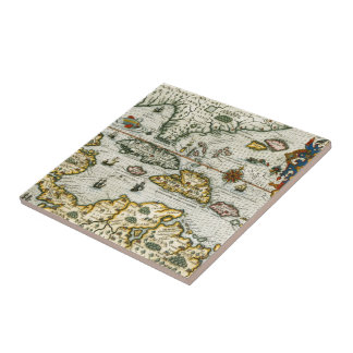 Vintage Map of The Caribbean (1594) Small Square Tile