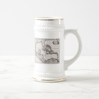 Vintage Map of The Caribbean (1696) Beer Stein