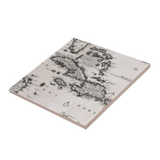 Vintage Map of The Caribbean (1696) Ceramic Tiles