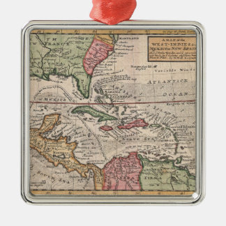 Vintage Map of The Caribbean (1732) Christmas Ornament
