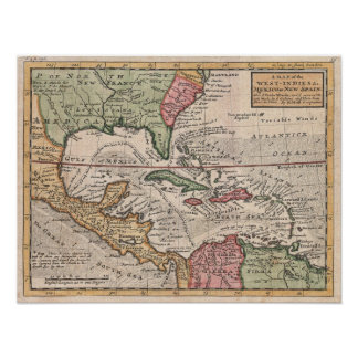 Vintage Map of the Caribbean (1732) Poster