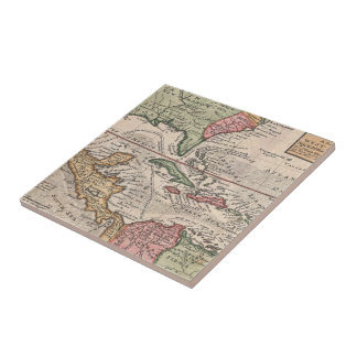 Vintage Map of the Caribbean (1732) Small Square Tile