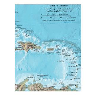 Vintage Map of the Caribbean - U.S. Postcard