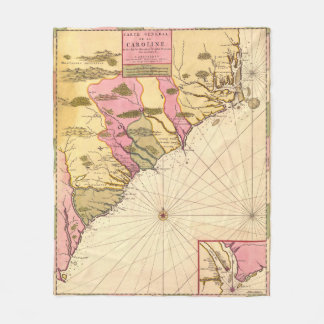Vintage Map of The Carolinas (1683) Fleece Blanket
