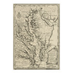 Vintage Map of The Chesapeake Bay (1752) Poster