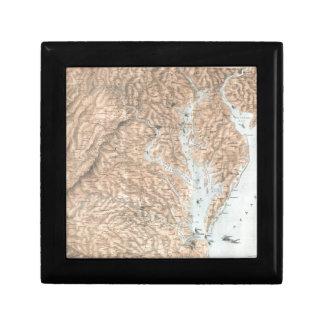 Vintage Map of The Chesapeake Bay (1861) Keepsake Box