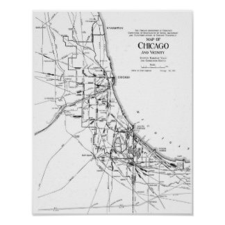 Vintage Map of The Chicago Railroad Network (1913) Poster
