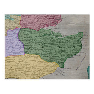 Vintage map of the County of Kent, England Postcard