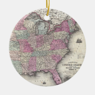 Vintage Map of The Eastern United States (1862) Christmas Ornament