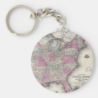 Vintage Map of The Eastern United States (1862) Key Ring