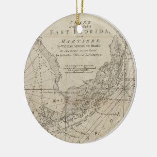 Vintage Map of The Florida Keys (1771) Christmas Ornament