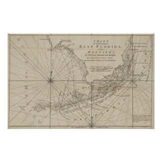 Vintage Map of The Florida Keys (1771) Poster