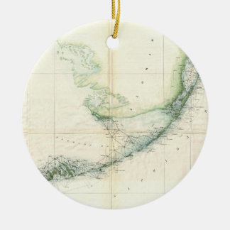 Vintage Map of The Florida Keys (1859) Christmas Ornament