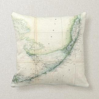 Vintage Map of The Florida Keys (1859) Cushion