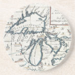 Vintage Map of The Great Lakes (1696) Beverage Coasters