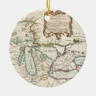 Vintage Map of The Great Lakes (1755) Christmas Ornament