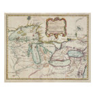 Vintage Map of The Great Lakes (1755) Poster