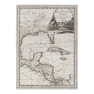 Vintage Map of The Gulf of Mexico (1798) Poster