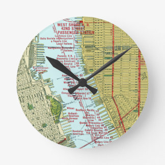 Vintage Map of the Hudson River and Manhattan Wall Clocks
