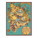 Vintage Map of the Island of Hawaii Post Card