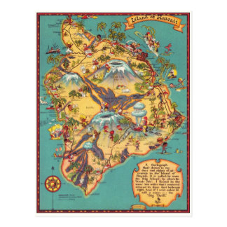 Vintage Map of the Island of Hawaii Postcard