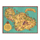Vintage Map of the Island of Maui Postcard