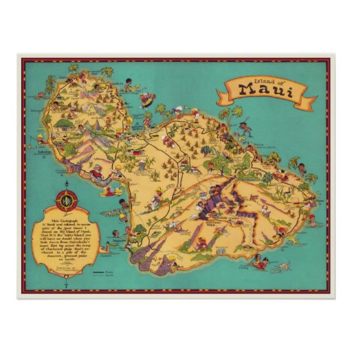 Vintage Map of the Island of Maui Poster