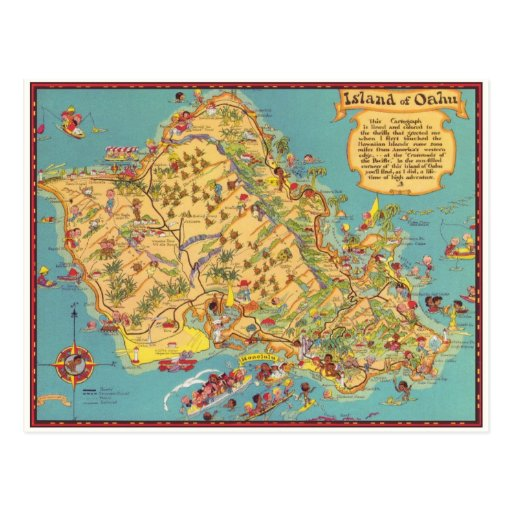 Vintage Map of the Island of Oahu Postcards