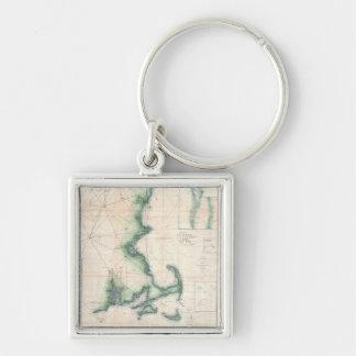 Vintage map of the Massachusetts Coastline Key Ring