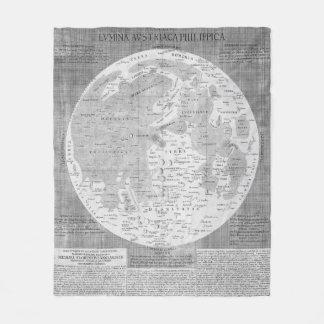 Vintage Map of The Moon (1645) Fleece Blanket