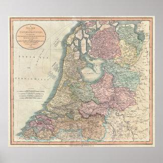 Vintage Map of the Netherlands (1799) Poster