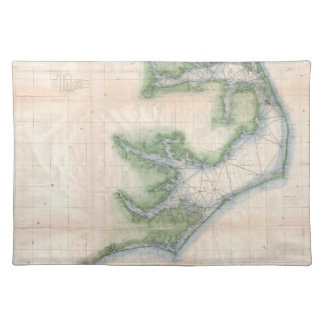 Vintage Map of The North Carolina Coast (1875) Placemat