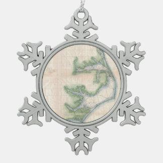 Vintage Map of The North Carolina Coast (1875) Snowflake Pewter Christmas Ornament