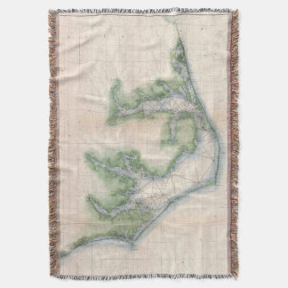 Vintage Map of The North Carolina Coast (1875) Throw Blanket