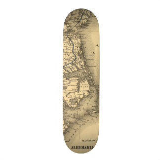 Vintage Map of The North Carolina Coast (1887) Skate Boards