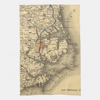 Vintage Map of The North Carolina Coast (1887) Tea Towel