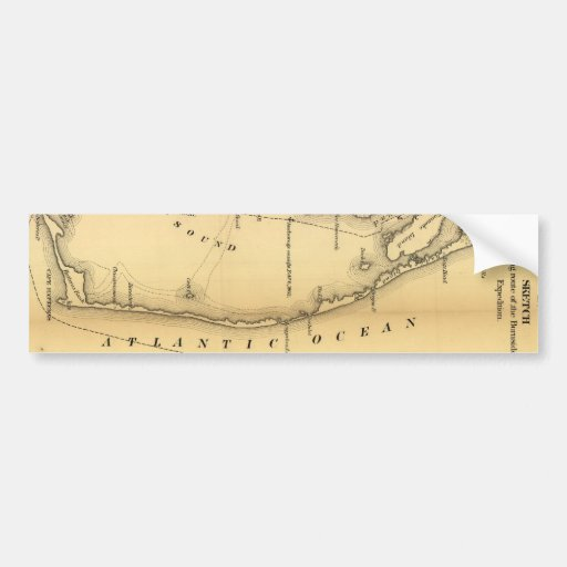 Vintage Map of The Outer Banks (1862) Bumper Stickers