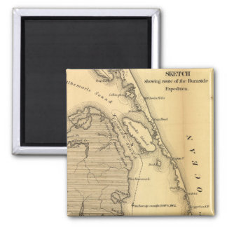 Vintage Map of The Outer Banks (1862) Fridge Magnet