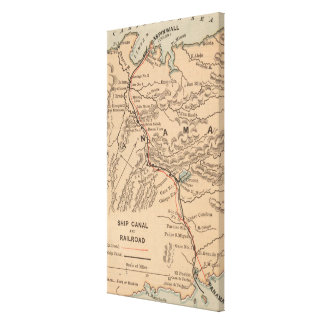 Vintage Map of The Panama Canal (1885) Canvas Prints
