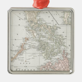 Vintage Map of The Philippine Islands (1901) Silver-Colored Square Decoration