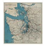 Vintage Map of The Puget Sound (1919) Poster