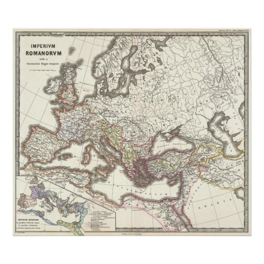 Vintage Map of The Roman Empire (1865) Poster