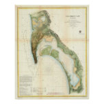 Vintage Map of The San Diego Bay (1857) Posters