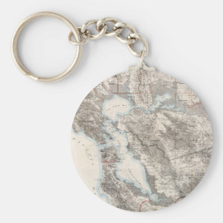 Vintage Map of The San Francisco Bay (1873) Basic Round Button Key Ring